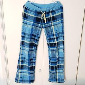 soft fuzzy fleece plaid drawstring pajama pants